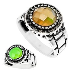 6.32cts green alexandrite (lab) topaz 925 silver mens ring size 11.5 c11216