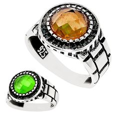 Green alexandrite (lab) topaz 925 sterling silver mens ring size 11.5 c11214