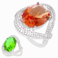 14.00cts green alexandrite (lab) white topaz 925 silver ring size 8 c23281