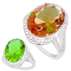 12.83cts green alexandrite (lab) white topaz 925 silver ring size 8 c23364