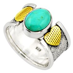 4.02cts green arizona mohave turquoise 925 silver 14k gold ring size 8 d46322