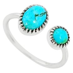 2.60cts green arizona mohave turquoise 925 silver adjustable ring size 8 r68903