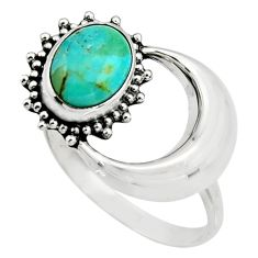 3.08cts green arizona mohave turquoise 925 silver half moon ring size 8 r26752