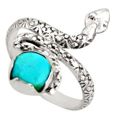 3.13cts green arizona mohave turquoise 925 silver snake ring size 9.5 d46245