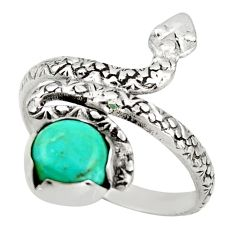 3.04cts green arizona mohave turquoise 925 silver snake ring size 9 d46246