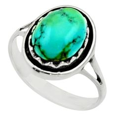 4.40cts green arizona mohave turquoise 925 silver solitaire ring size 8.5 c9806