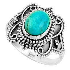 3.48cts green arizona mohave turquoise 925 silver solitaire ring size 7.5 r26787