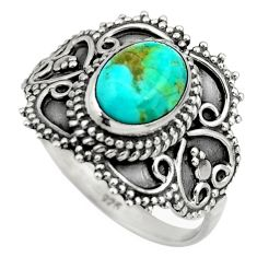 3.19cts green arizona mohave turquoise 925 silver solitaire ring size 9.5 r26952