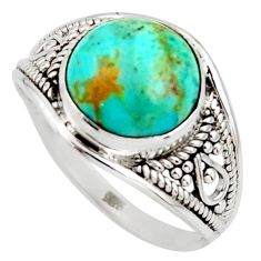4.54cts green arizona mohave turquoise 925 silver solitaire ring size 8.5 r35426