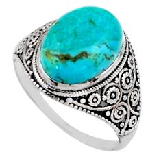5.84cts green arizona mohave turquoise 925 silver solitaire ring size 9.5 r54626