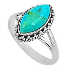 2.58cts green arizona mohave turquoise 925 silver solitaire ring size 6.5 r57409