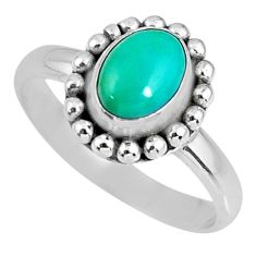 2.08cts green arizona mohave turquoise 925 silver solitaire ring size 7.5 r57909