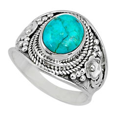4.06cts green arizona mohave turquoise 925 silver solitaire ring size 7.5 r58015