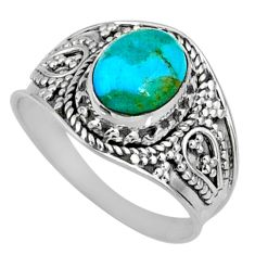 3.05cts green arizona mohave turquoise 925 silver solitaire ring size 8.5 r58658