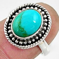 4.46cts green arizona mohave turquoise 925 silver solitaire ring size 6 r24882