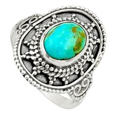 3.01cts green arizona mohave turquoise 925 silver solitaire ring size 7 r26770