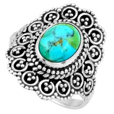 3.14cts green arizona mohave turquoise 925 silver solitaire ring size 7 r26934