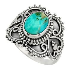 3.19cts green arizona mohave turquoise 925 silver solitaire ring size 7 r26953