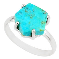 5.13cts green arizona mohave turquoise 925 silver solitaire ring size 8 r81862
