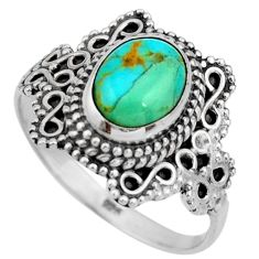 3.11cts green arizona mohave turquoise 925 silver solitaire ring size 9 r26992