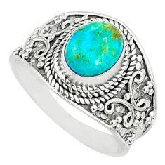 3.11cts green arizona mohave turquoise 925 silver solitaire ring size 9 r74722