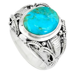 5.23cts green arizona mohave turquoise 925 sterling silver ring size 6 c10615