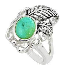 2.76cts green arizona mohave turquoise 925 sterling silver ring size 6 c10656