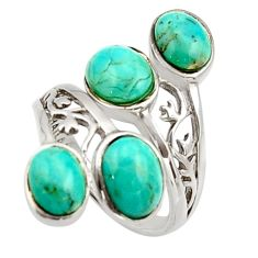7.11cts green arizona mohave turquoise 925 sterling silver ring size 6 c9854