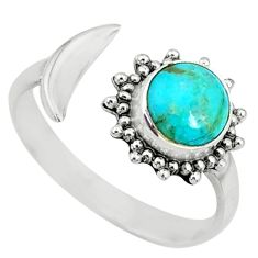 2.42cts green arizona mohave turquoise silver adjustable ring size 7.5 r74623