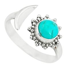 2.42cts green arizona mohave turquoise silver adjustable ring size 9.5 r74624