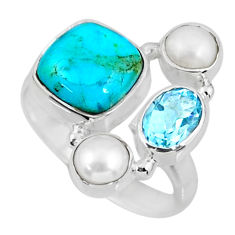 6.02cts green arizona mohave turquoise topaz pearl 925 silver ring size 8 r57566