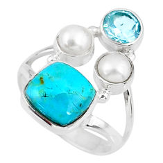 6.31cts green arizona mohave turquoise topaz pearl 925 silver ring size 8 r57628