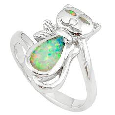 Green australian opal (lab) enamel 925 silver ring jewelry size 6 c15781