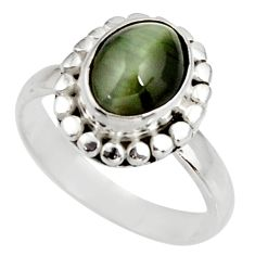 4.38cts green cats eye 925 sterling silver solitaire ring size 8 d39079