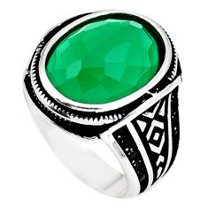 Green chalcedony black topaz 925 sterling silver mens ring size 9.5 c11433