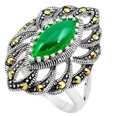 Green chalcedony marcasite 925 silver solitaire ring jewelry size 9.5 c17498