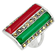 8.38cts green chalcedony marcasite onyx 925 silver ring jewelry size 7.5 c17518