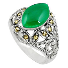 4.38cts green chalcedony marcasite silver solitaire ring jewelry size 7.5 c17469