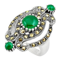 3.74cts green chalcedony marcasite silver solitaire ring jewelry size 6 c17510