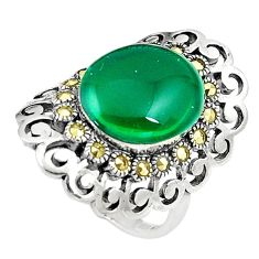 6.53cts green chalcedony marcasite silver solitaire ring jewelry size 8 c17485