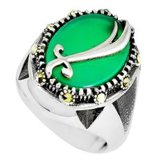 Green chalcedony swiss marcasite 925 sterling silver mens ring size 8.5 c11073