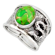 5.62cts green copper turquoise 925 silver dragon solitaire ring size 8 d45939