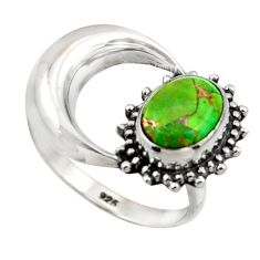 3.26cts green copper turquoise 925 silver half moon ring jewelry size 7 r41765