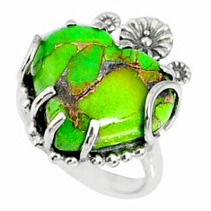 11.26cts green copper turquoise 925 silver heart ring jewelry size 6 r67536