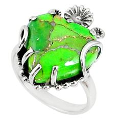 12.05cts green copper turquoise 925 silver heart ring jewelry size 7 r67533