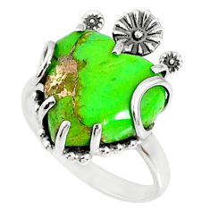 11.74cts green copper turquoise 925 silver heart ring jewelry size 9 r67534