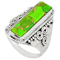 5.82cts green copper turquoise 925 silver solitaire ring jewelry size 8.5 r21365