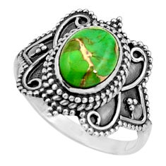 3.02cts green copper turquoise 925 silver solitaire ring jewelry size 7.5 r26791