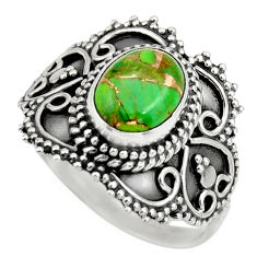 3.36cts green copper turquoise 925 silver solitaire ring jewelry size 8.5 r26951