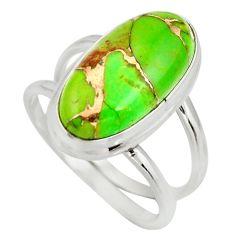 6.18cts green copper turquoise 925 silver solitaire ring jewelry size 8.5 r27161